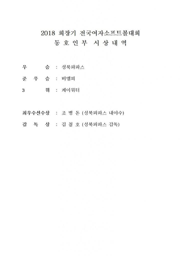 2018 회장기 전국여자소프트볼대회 시상내역 동호인부2018.10.30.jpg